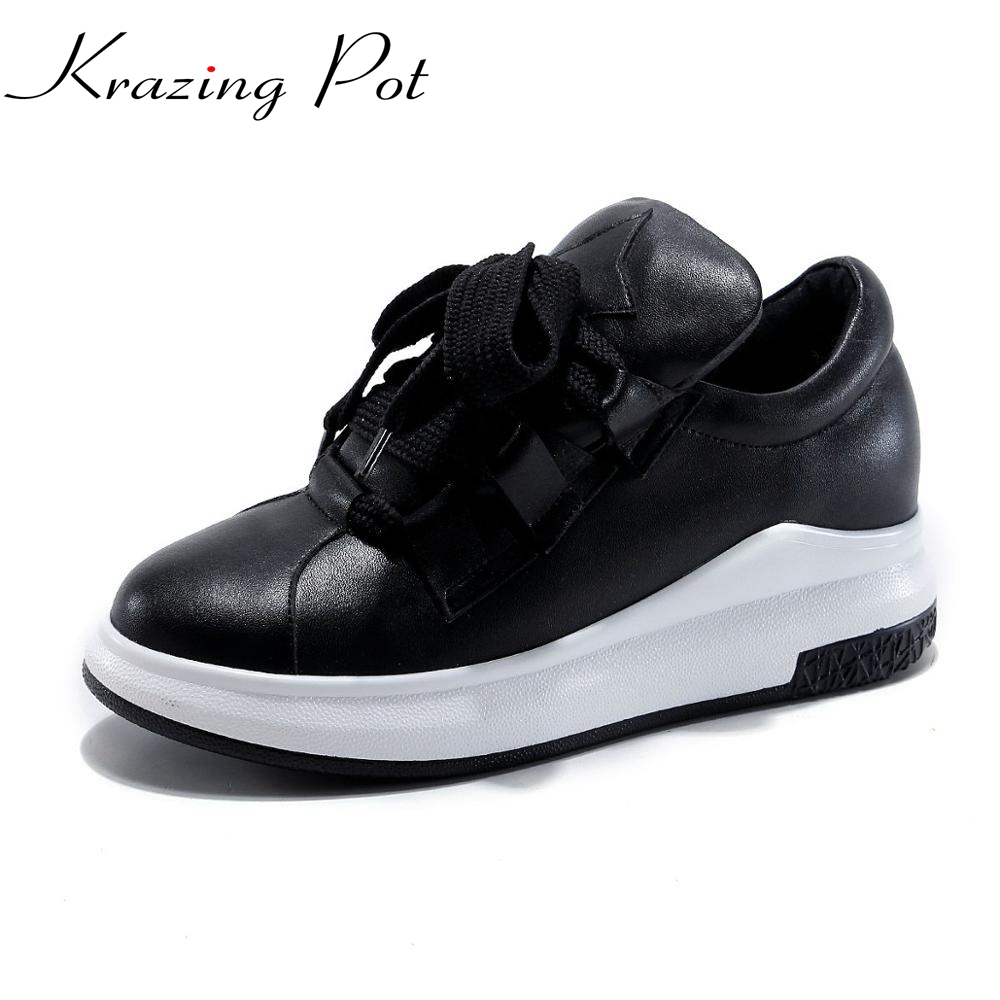 2017 full grain leather platform round toe sneaker solid increased large size loafers casual bowtie cozy vulcanized shoes L00 new trifle casual shoes women platform women shoes platforms full grain leather womens loafers cut outs wedges shoes large size