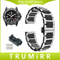 20mm 22mm Mar De Cerámica + Correa de Acero Inoxidable para Luminox tierra aire men women watch band butterfly corchete correa de muñeca pulsera