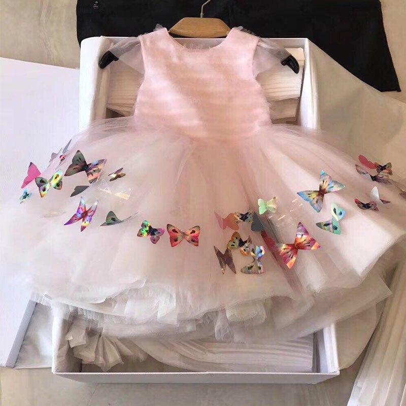 GlowwormKids Girls Dress 2018 Summer New Runway Dress Girls Party Birthday Dress Sequin Butterfly Childrens Clothes 2-8T hs051