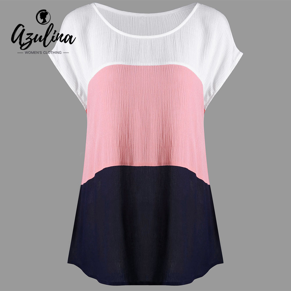 AZULINA Plus Size Cap Sleeve Crinkle Blouse 2018 Summer O Neck Short Sleeve Blouses Shirts Big Size Women Tops Ladies Clothes