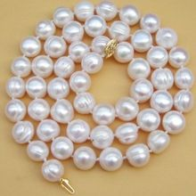 Настоящее классическое ожерелье из белого жемчуга в стиле барокко с южным морем, 10-11 мм, 17 дюймов, хорошее ювелирное изделие
