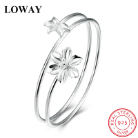 LOWAY New Arrival Fashion Pretty Women 2 Flower Bracelet 925 Sterling Silver Bangles Jewelry Wholesale SZ3863