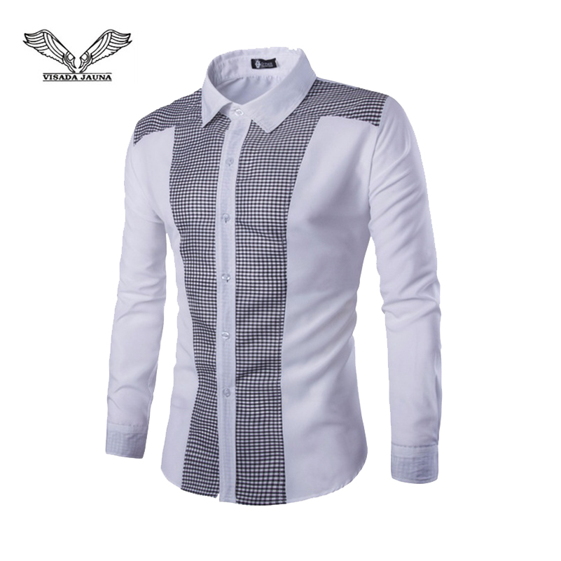 VISADA JAUNA 2019 New Men's Casual Shirt Fashion Small Square Stitching Long-Sleeved Shirt Size XS-4XL TLH75