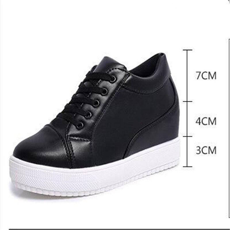 c4f67471b8 2017 Mulheres Sapatos De Salto Alto Plataforma Sapatos de Cunha Tenis  Feminino Casual Cesta Femme Sapatos Valentine Gumshoe Krasovki tamanho 35  39 preto em ...