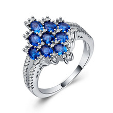 Huitan Ethnic Stone Midi Ring With Luxury Bunch Of Blue CZ Prong Setting Ripe Grape Shaped Women Jewelry Elegant Cocktail Party
