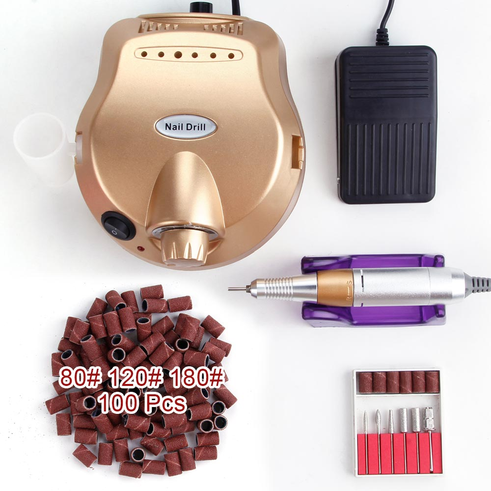 Professional 30000 RPM Manicure Machine Electric Nail Drill Bits Set Polisher Tools Pedicure Apparatus Kit Nail