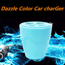 2USB dazzle color Car Charger Auto Energy Cup One with two car charger Automobiles Interior Electronics Accessorie Supplies