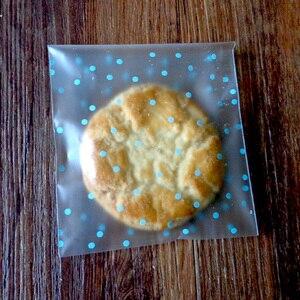 Image 2 - 100 個水玉つや消しビニール袋白、青、ピンク自己粘着クッキー明確なセロハンキャンディー結婚式ギフトバッグ