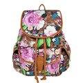 Женщины Национальный Стиль Холст Рюкзаки Цветок Печати Европейской и Американской Моды Школьники сумки для девочек-подростков Mochilas