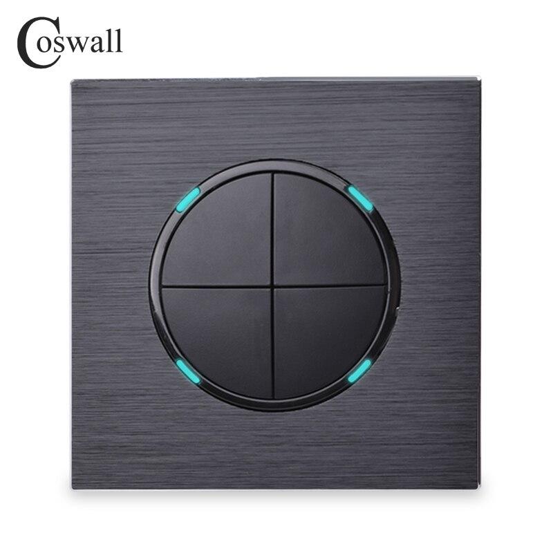 Coswall Luxuriöse 4 Gang 1 Weg Gelegentliche Klicken Taster Wand Licht Schalter Mit Led-anzeige Schwarz Aluminium Metall Panel