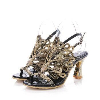 2019 Summer New Korean Elegant Heels Women's Shoes Diamond Peep Toe Sandals Size 11 Black Wedding High Heel