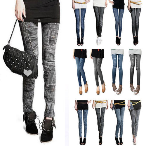 2015 Fashion Women   Leggings   for Women Polyester Spandex Jeans Hole Pleated Prints Casual Denim Sexy   Leggings