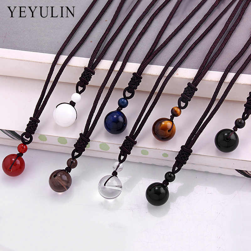 New Arrival Stone Transfer Lucky Beads Pendant Necklace Rope Chain For Women Men Evil Jewelry