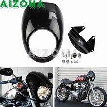 "Motocicleta preta 5.75 ""Farol Carenagem 5-3/4"" Farol Máscara Kit Para 1973-2018 Harley Davidson Sportster dyna FXR FXRS 39mm Garfo"