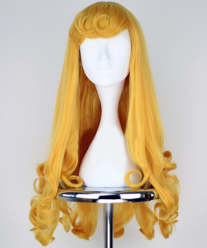 Anime Sleeping Beauty Princess Aurora Wig Halloween Play Party Stage High Quality Long Yellow Hair Free Shipping