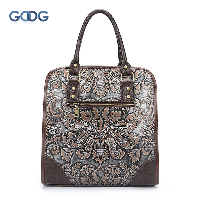 The new retro leather hand bag rub color embossed craft fashion handbags vertical section square portable casual briefcase