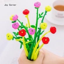 Лучшие (12 шт./лот) вместимость гелевая ручка 0,38 мм Kawaii гелевая ручка цветок Форма школьные принадлежности канцелярские принадлежности аксессуары JOY углу