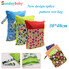 Baby diaper bags and double pocket zipper wet bag splice pattern printed waterproof wet bag and
