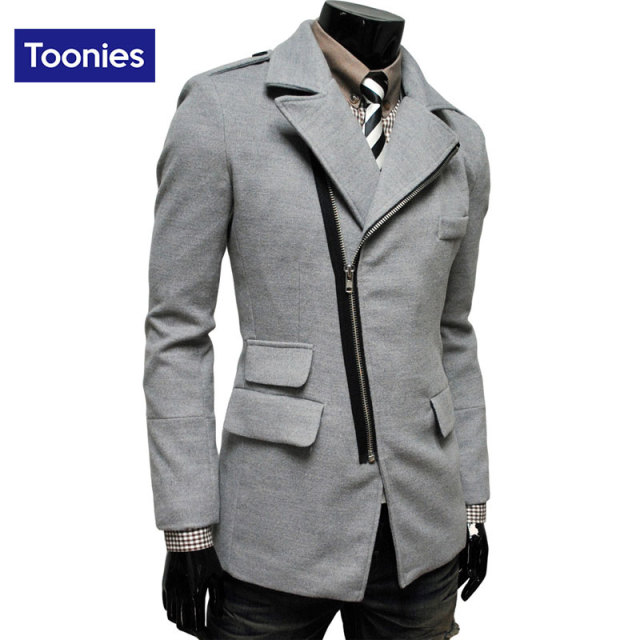 Brand Men's Clothing 2016 Winter Trend Irregular Overcoat Oblique Zipper Pocket Lapel Men Wool Coat 4 Colors Medium Long Jacket