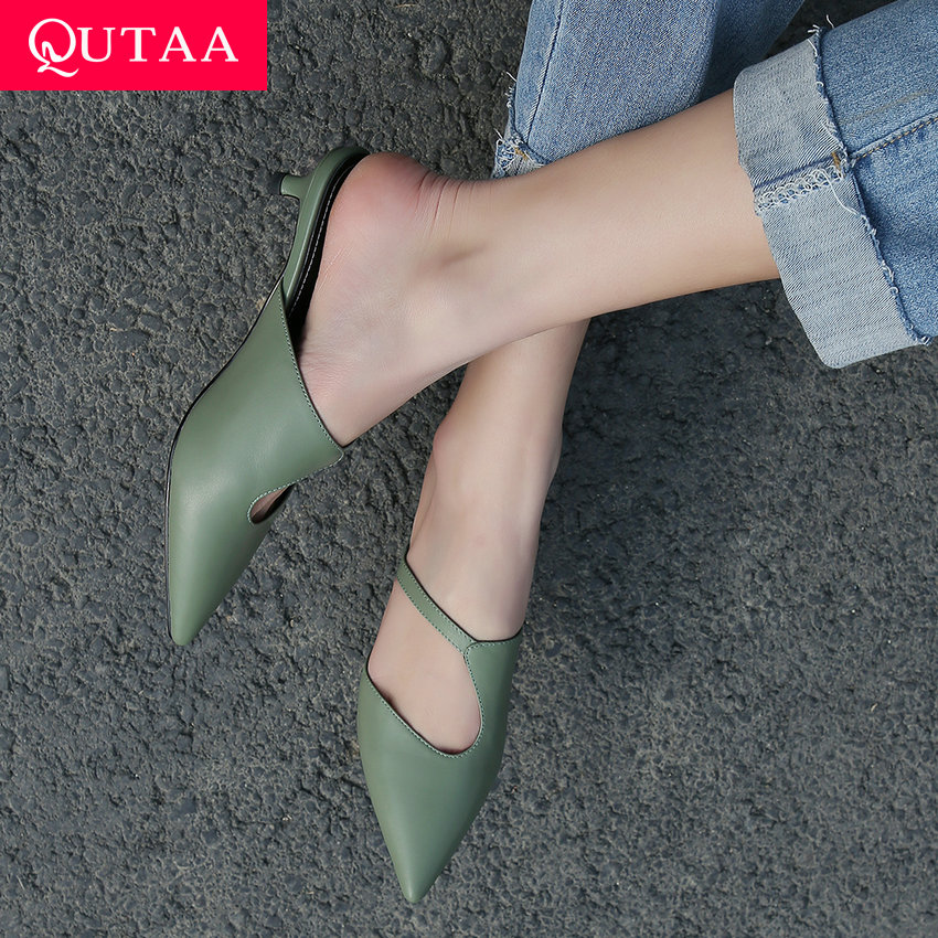 QUTAA 2020 Women Sandals Cow Leather Thin Low Heel Cut Outs Pointed Toe Slingback Concise Ladies