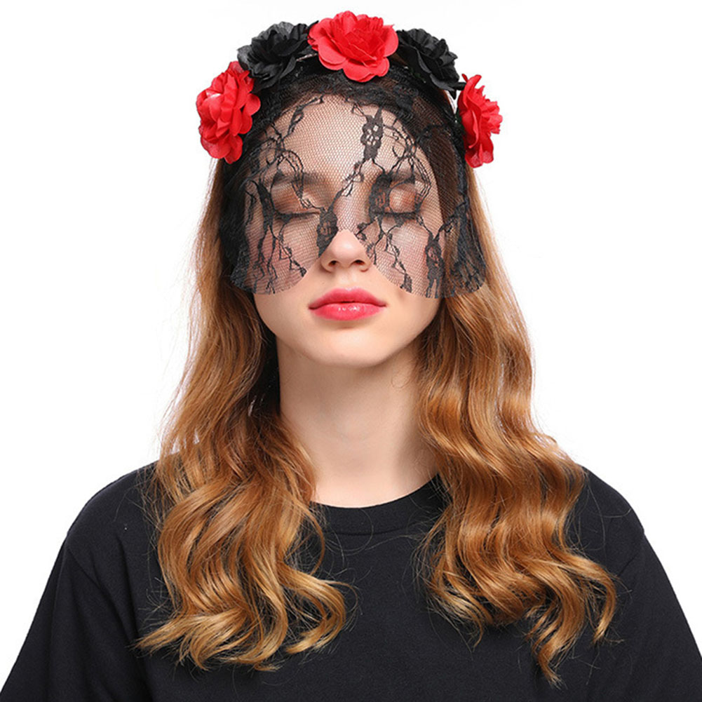 Vampire Bride Cosplay Rose Flower Lace Veil Halloween Headband Party Christmas Festival Hair Accessory Female Costumes Props 3