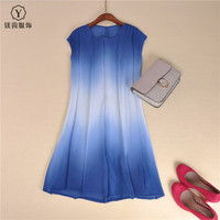 FREE SHIPPING High Quality Pleated One Piece Dress Gradient Color Patchwork Dress Medium Long IN STOCK