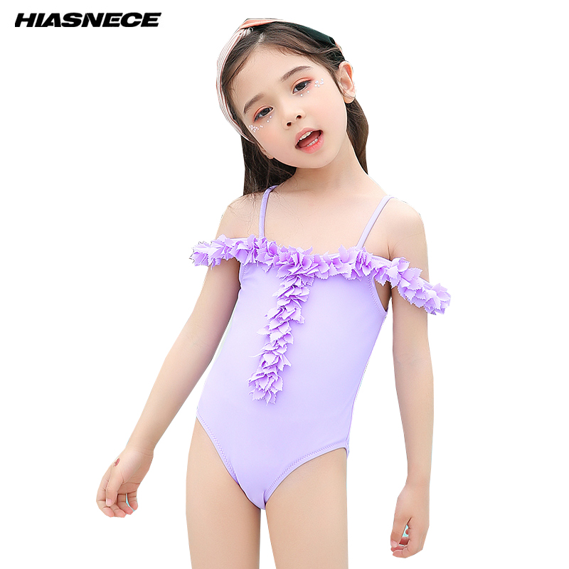 Girls Lovely One Piece Swimsuit Solid Sleeveless with floral off shoulder Children Kids 2018 Newest Bathing Suits Beach Swimwear