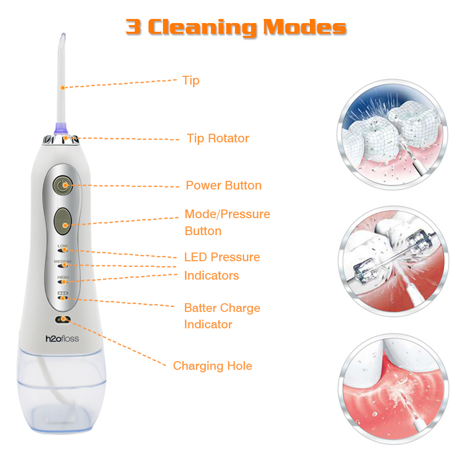 h2ofloss portable oral irrigator usb rechargeable water flosser Dental Water Jet 300ML Water Tank Waterproof Teeth Cleaner