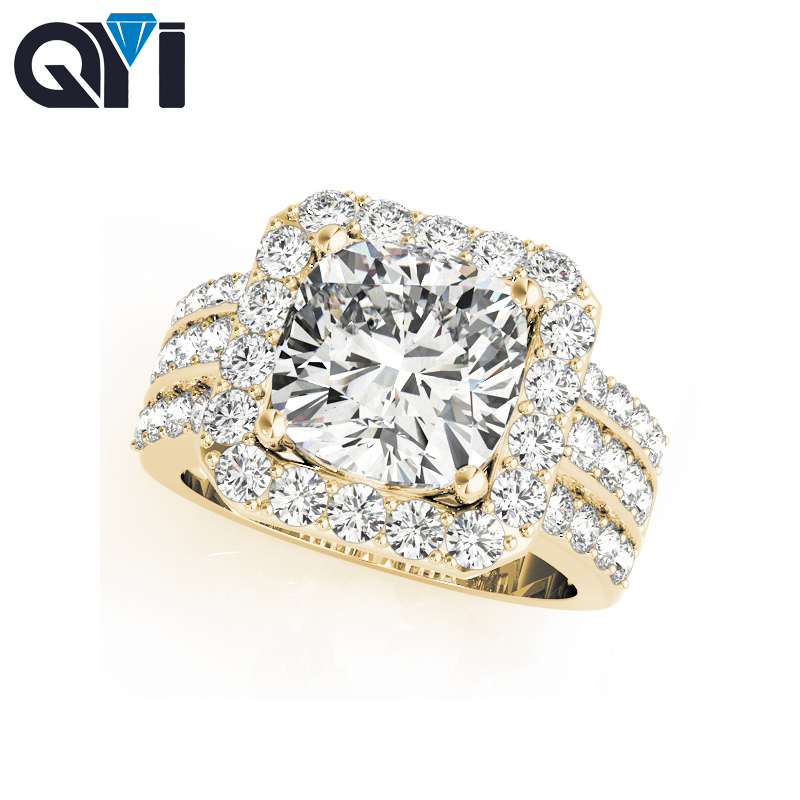 QYI 3 carat 14k Yellow Gold Halo Engagement Rings Round Cut Simulated Diamond Multi Row Female Ring For WomenQYI 3 carat 14k Yellow Gold Halo Engagement Rings Round Cut Simulated Diamond Multi Row Female Ring For Women