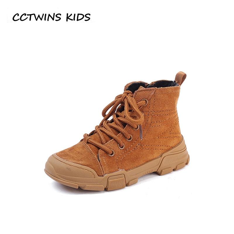 CCTWINS KIDS 2018 Winter Children Black Martin Baby Boy Genuine Leather Shoe Girl Fashion Warm Ankle Boot Toddler BM072