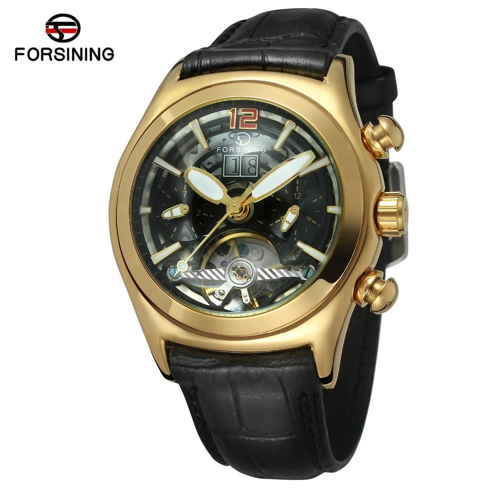 Forsining Men's Antique Fashion Design Automatic Skeleton Dome Lens Calendar Watch with Leather Strap Factory Watch FSG9414M3 bronze color doctor who theme antique pocket watch with dr who symbols design glass dome pendant packing with gift box