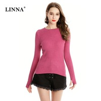 2019 New Pink Sweater Woman Fashion Plain Long Sleeve winter Knitted Warm Pullover Casual Female Tight Office Top Jumper Solid