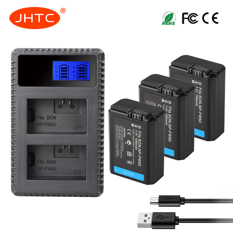 JHTC 3pcs NP-FW50 NP FW50 NPFW50 Battery Akku+LCD Dual USB Charger For Sony Alpha A7II A7R A7RII A7SII A5100 A6300 A6500 NEX-5T