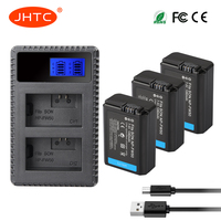 JHTC 3pcs NP FW50 NP FW50 NPFW50 Battery Akku+LCD Dual USB Charger for Sony Alpha a7II a7R a7RII a7SII a5100 a6300 a6500 NEX 5T