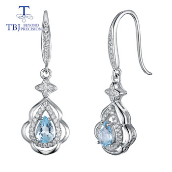 TBJ,925 sterling silver earrings match natural aquamarine gemstone,simple nice design fine jewelry for woman anniversary gift