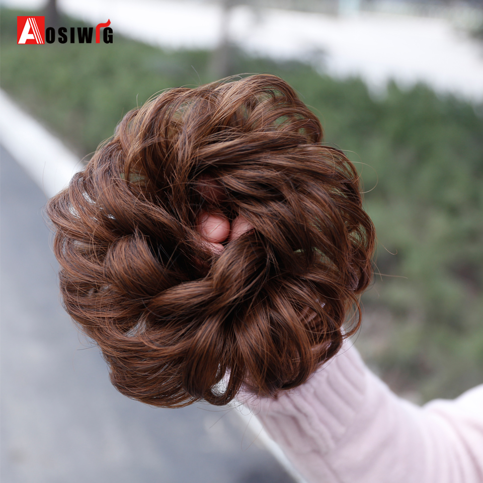 AOSIWIG Short Curly Chignons Hair Synthetic Hair Rope Natural Fake Hair Bun Curly Clip In Hair Extensions