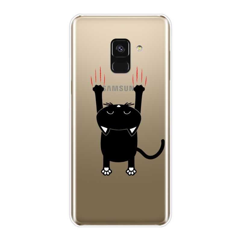 Силиконовый чехол для телефона для samsung Galaxy A6 A8 плюс 2018 A5 A7 с рисунком милого кота мягкая задняя крышка для samsung A3 A5 A7 2016 2017