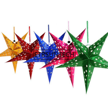 100pcs Paper Star Lantern 3D Pentagram Lampshade for Christmas Xmas Party Birthday Wedding Home Hanging Decorations