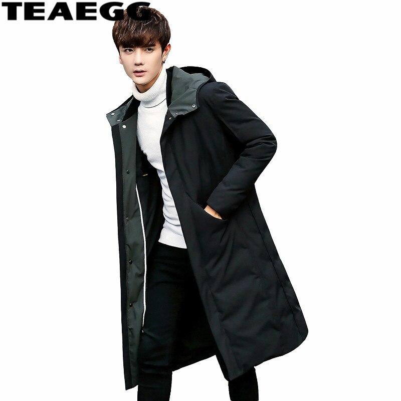 TEAEGG Капюшон Мужская зимняя куртка пуховик 2019 теплый толстый черный мужской пуховик Мужская одежда верхняя одежда Chaquetas HombreAL466