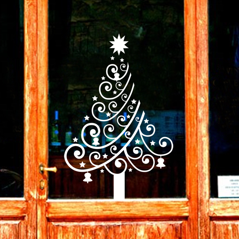 One generation carved Christmas tree wall stickers, happy snowflake shop windows, sliding windows, LM049