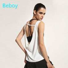 Beboy Sexy Backless Running Vest Women Solid Fitness Yoga Tank Tops Quick Dry Gym Sport Shirts Sleeveless Compression Shirt