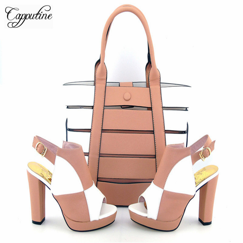 Capputine New Fashion PU Leather Double Color Shoes And Bag Set Italian Style Woman Shoes And Matching HandBag Set For Party capputine hot selling pu leather woman shoes and bag set italian style woman high heels shoes and matching set for party bch 30