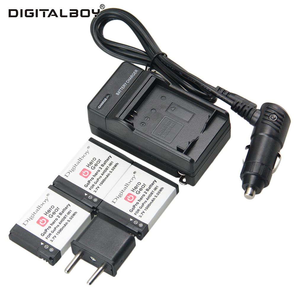 ②Hot ! 3 PCS AHDBT 001 AHDBT 002 Go pro Battery+charger+ car ...
