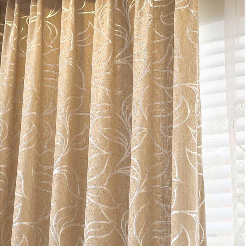 New Leaves Chenille Jacquard Blinds Fabric Window Curtain GIGIZAZA ...