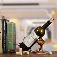 Metal Cculpture Yoga Cat Wine Holder Wine Shelf Practical Sculpture HomeDecoration Decoration Craft