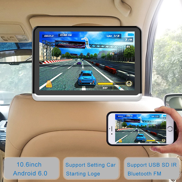 Android 6.01 Car Headrest Monitor 2PCS 1366*768 1080 HD  with Touch Screen WIFI Bluetooth USB SD Card Without DVD Player