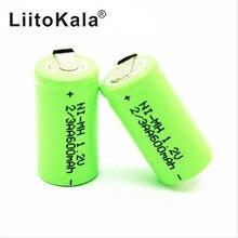 LiitoKala batería recargable 2/3AA Ni MH, AA, 1,2 V, 600mAh, con pines