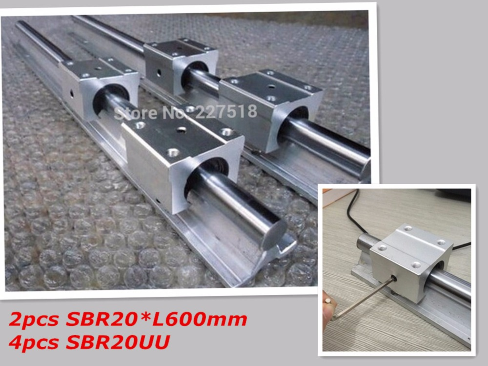 20mm linear rail SBR20 600mm 2pcs and 4pcs SBR20UU linear bearing blocks for cnc parts 20mm linear guide 4pcs lot sbr20uu sbr20 20mm linear ball bearing block cnc router cnc parts and machine aluminum block linear guide rail