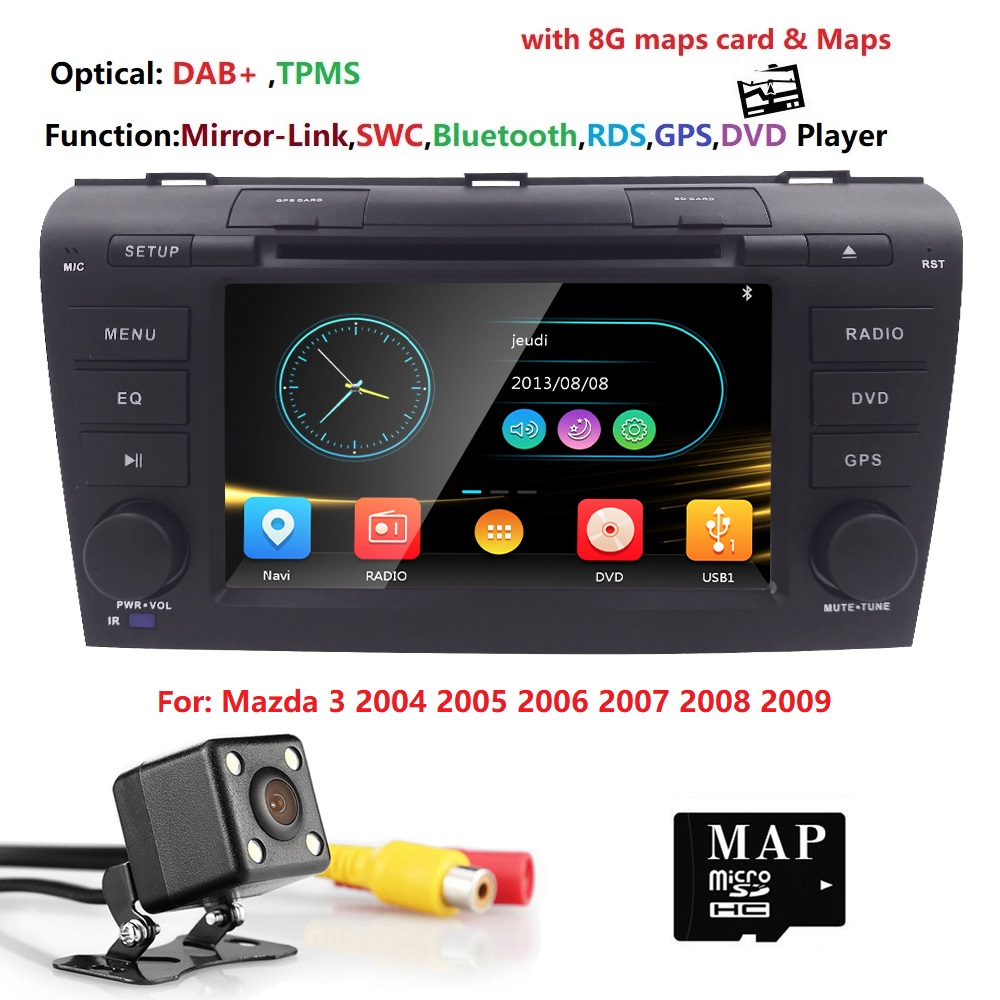 Hizpo Car DVD Player 7inch GPS Navigation For MAZDA3 2004/2005/2006/2007/2008/2009 1080P Subwoofer SWC BT Steering wheel control