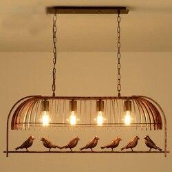 Loft vintage styl industrialny retro żelaza klatka dla ptaków żyrandol Cafe pub bar wisząca lampa 110-240V